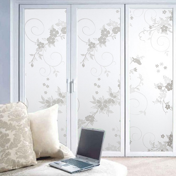 Frosted privacy cover glass window white orchid floral for Stickers fenetre opaque