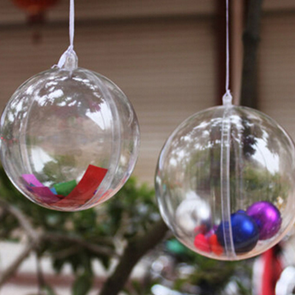 Oem 10cm christmas decoration hanging transparent for Ball decoration ideas