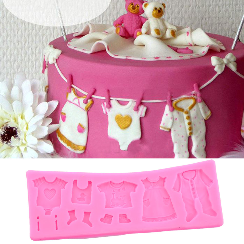 Baby shower clothes shoes shape diy fondant cake decor for Baby shower decoration singapore