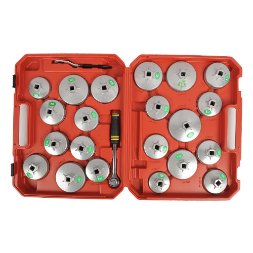 Alu-Olfilterkappen-Satz-Olfilterschluessel-Druckguss-23-tlg-Olfilter-Kappen-Set